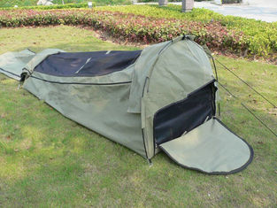 Canvas Famliy 2 Man Swag Tent , YKK Zipper Swag Bag Tent With Aluminum Pole supplier