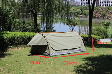 Canvas Famliy 2 Man Swag Tent , YKK Zipper Swag Bag Tent With Aluminum Pole